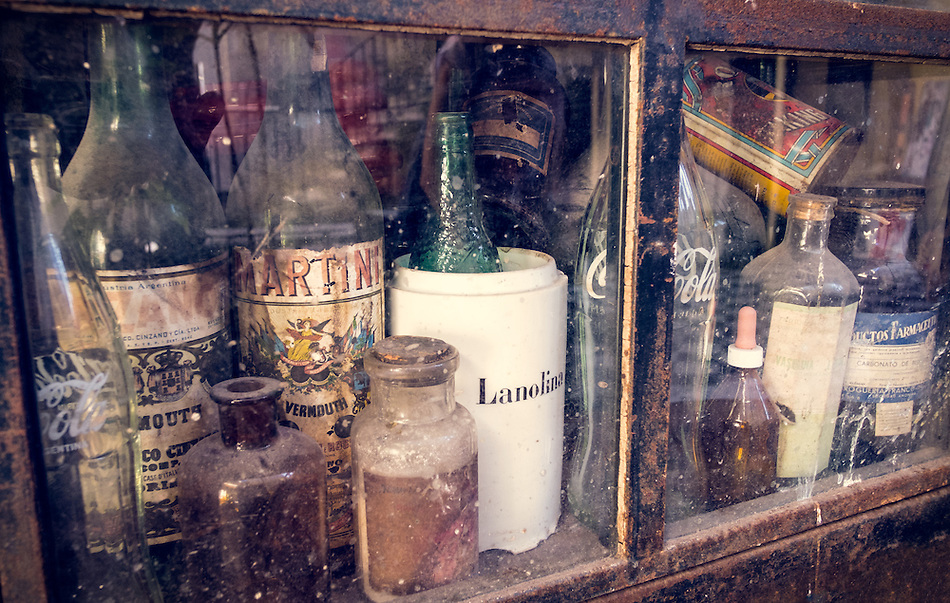 BUENOS AIRES - CIRCA NOVEMBER 2012: Old botles in the neighborhood of San Telmo, circa November 2012. The neighborhood is famous for its antique shops, a popular destination with over 2.5 million yearly visitors . (Daniel Korzeniewski)