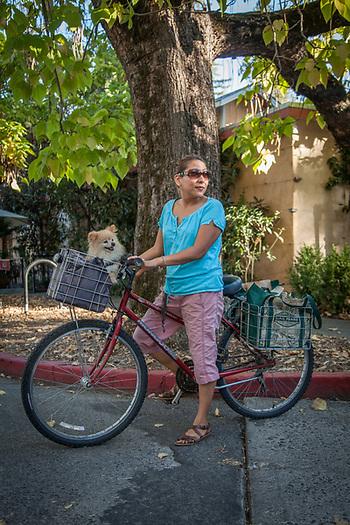 Massage/Hypno Theropist Liza Xavier, with her dog, Buddy, in downtown Calistoga  liza.calistoga@gmail.com (© Clark James Mishler)