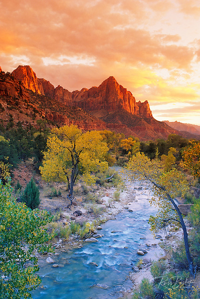 Evening light on Watchman Peak above the Virgin River, Zion National Park, Utah