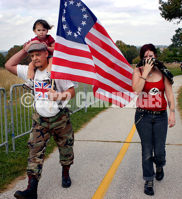 VALLEY FORGE, PA - SEPTEMBER 25: An family of American Nazi party members arrives for an American Nazi rally at Valley Forge National Park September 25, 2004 in Valley Forge, Pennsylvania. Hundreds of American Nazis from around the country were expected to attend. (Photo by William Thomas Cain/Getty Images) (William Thomas Cain/Getty Images)
