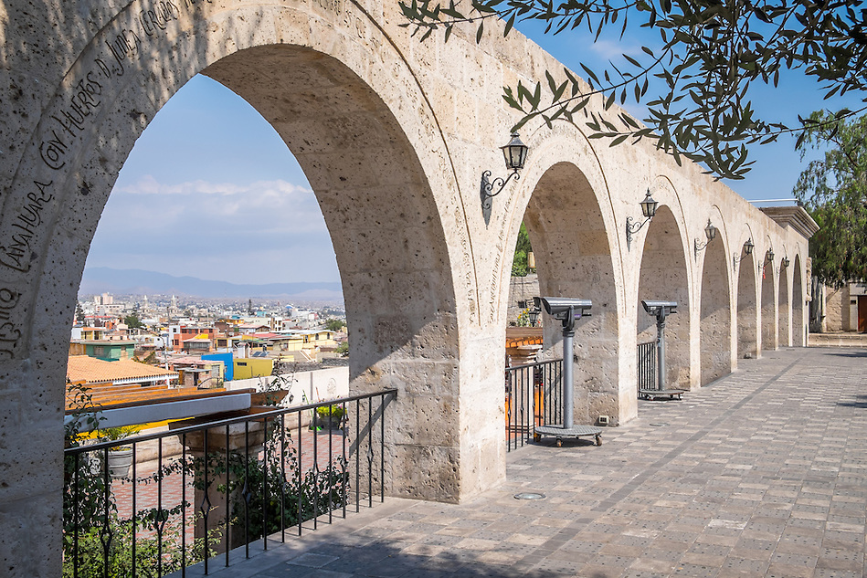 AREQUIPA, PERU - CIRCA APRIL 2014: View of arches at the Yanahuara viewpoint Arequipa is the Second city of Perú by population with 861,145 inhabitants and is the second most industrialized and commercial city of Peru. (Daniel Korzeniewski)