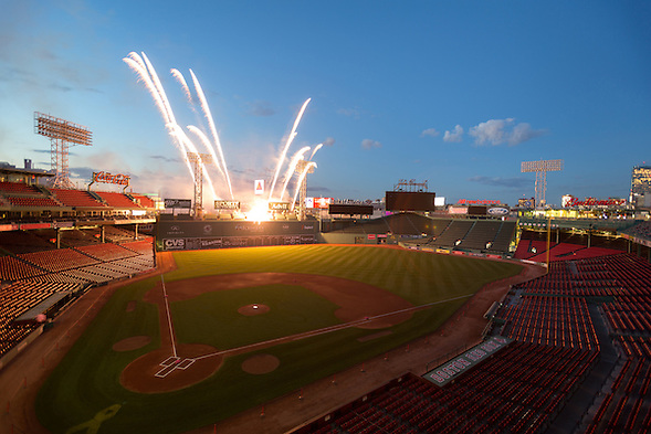 Boston, MA 08/28/2015 Fireworks erupt from the top of the Green Monster at Fenway Park to honor the life of Dr. Carolyn Kaelin, renowned cancer surgeon, advocate, and patient, on Friday evening. Alex Jones / www.alexjonesphoto.com (Alex Jones / www.alexjonesphoto.com)
