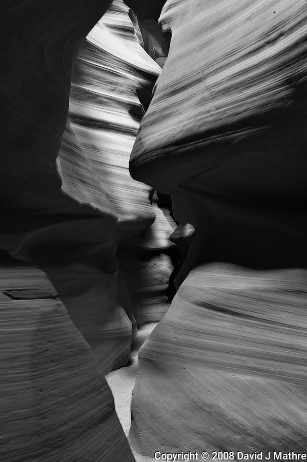 Upper Antelope Canyon, Page Arizona. Image taken with a Nikon D3 camera and 24-70 mm f/2.8 lens (ISO 200, 32 mm, f/16, 8 sec). Image processed with Capture One Pro. Converted to B&W with NIK Silver Efex Pro 2 (David J Mathre)