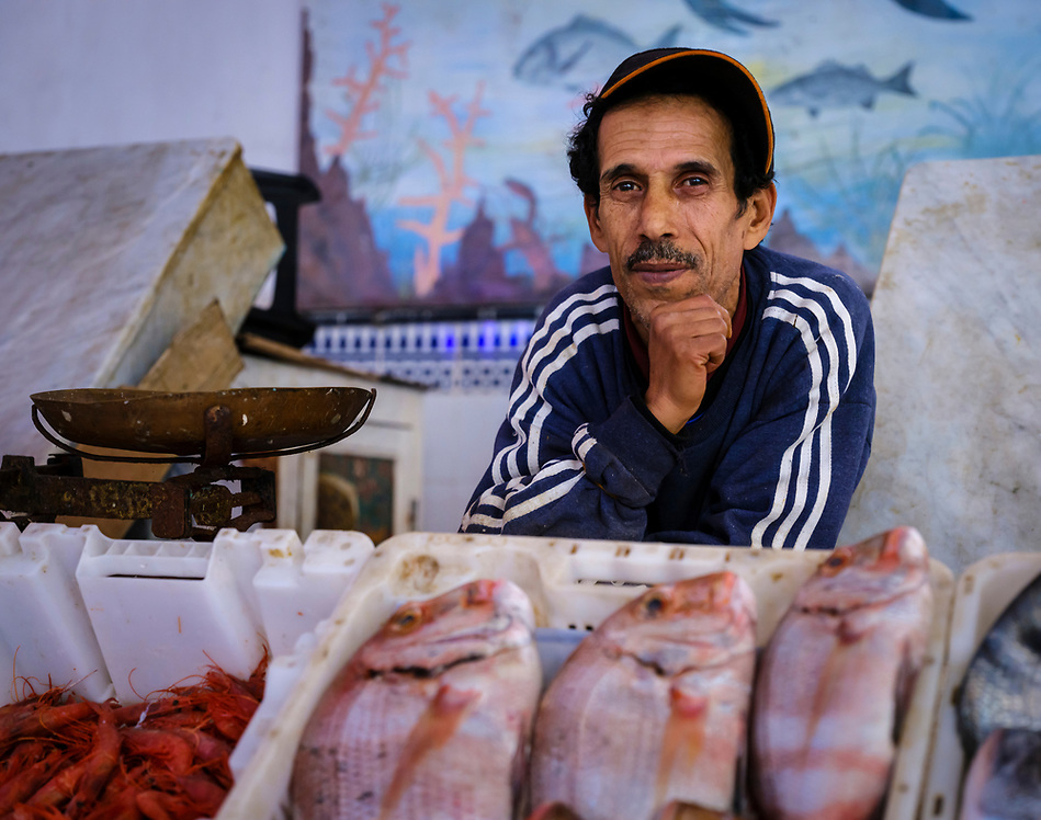 CASABLANCA, MOROCCO - CIRCA APRIL 2017: Fish seller at the fish market in Casablanca (Daniel Korzeniewski)