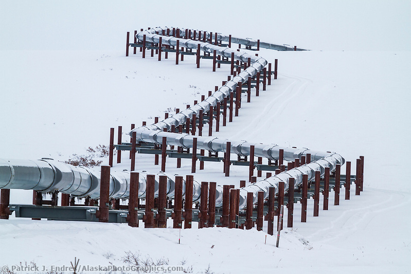Trans Alaska Oil pipeline traverses the snowy tundra of the arctic north slope, Alaska. (Patrick J. Endres / AlaskaPhotoGraphics.com)
