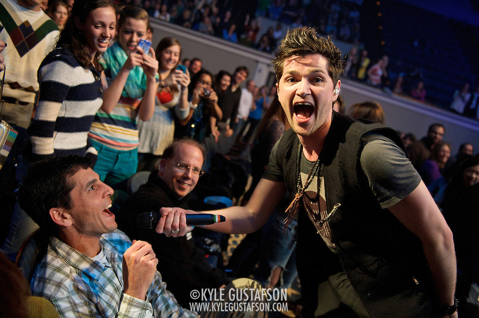 WASHINGTON, D.C. - November 7th, 2012 - Danny O'Donoghue of The Script enlists a seated concert goer to help sing during the band's performance at DAR Constitution Hall in Washington, D.C.  (Photo by Kyle Gustafson/ For The Washington Post) (Kyle Gustafson/For The Washington Post)