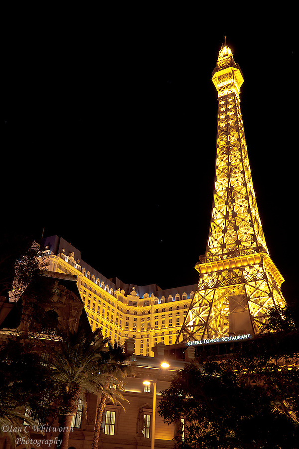 Looking at a night view of the Eiffel Tower in Paris Las Vegas (Ian C Whitworth)
