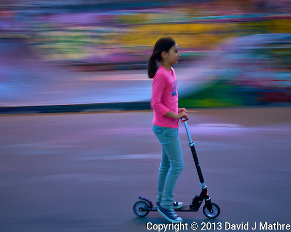 Young Girl on a Kick-Scooter in Parc de Bercy. Late Spring Photowalk in Paris. Image taken with a Leica X2 camera (ISO 100, 24 mm, f/11, 1/15 sec). Semester at Sea Spring 2013 Enrichment Voyage. (David J. Mathre)