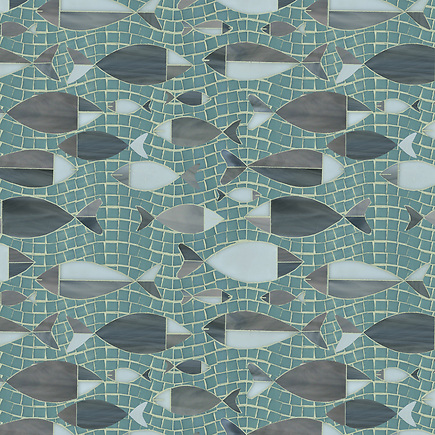 Floating Fish, a glass waterjet and hand cut mosaic shown in Serpentine, Labradorite, Aalto and Opal, is part of the Erin Adams Collection for New Ravenna Mosaics. .-Aalto temporarily out of stock. Please substitute with another color. (New Ravenna Mosaics 2012)