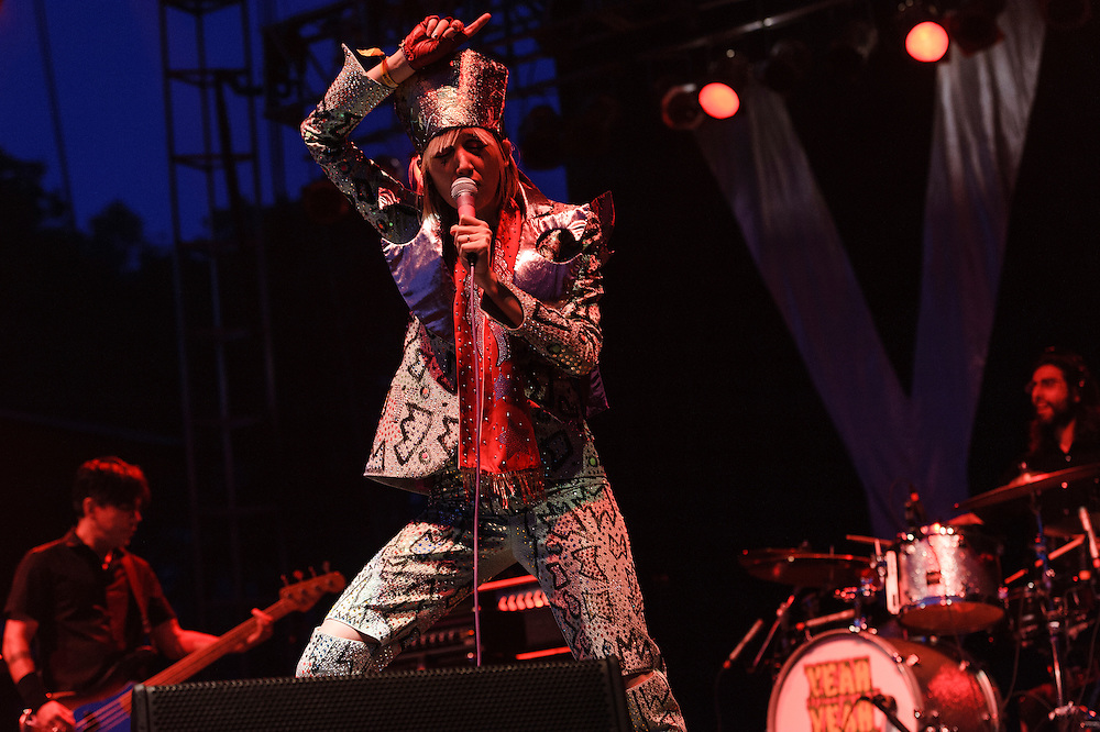 Photos of Yeah Yeah Yeahs performing live at The Great GoogaMooga Festival kickoff concert at Prospect Park in Brooklyn, NY. May 17, 2013. Copyright © 2013 Matthew Eisman. All Rights Reserved (Photo by Matthew Eisman/WireImage)