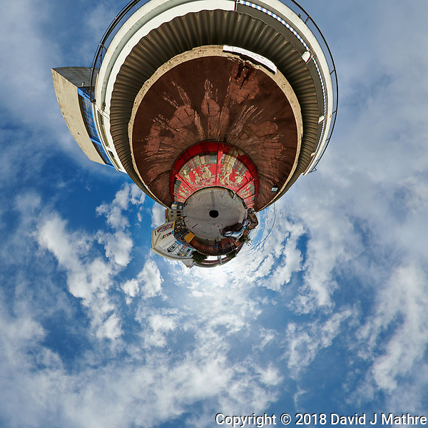 LZ Factory Back Street - Little Planet View. Composite of 25 images taken with a Nikon D850 camera and 8-15 mm fisheye lens (ISO 110, 15 mm, f/8, 1/320 sec). Raw images processed with Capture One Pro and stitched together with AutoPano Giga. (DAVID J MATHRE)