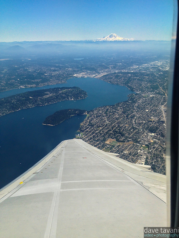 Mt. Rainier sits on the horizon as my plane departs from Seattle-Tacoma International Airport. (Dave Tavani)