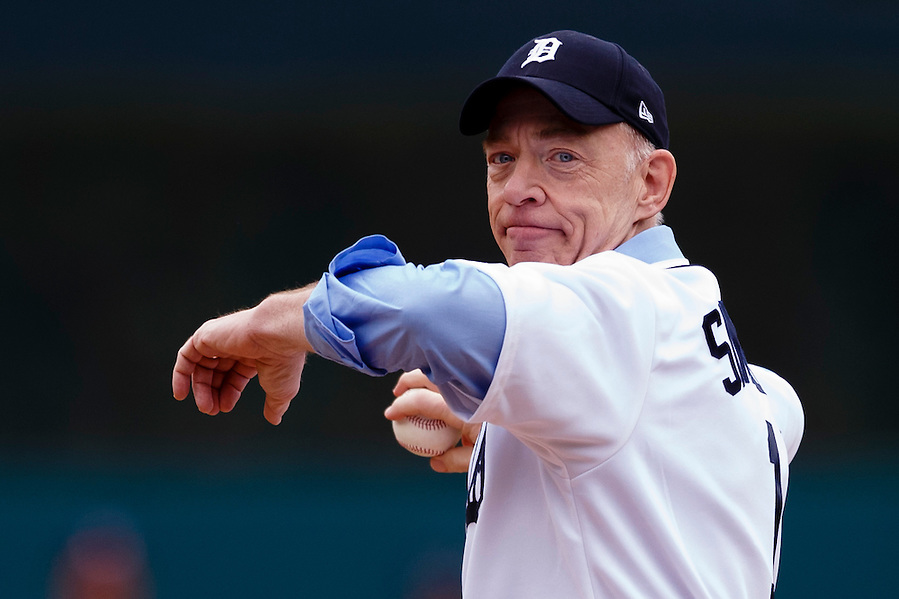 Apr 6, 2015; Detroit, MI, USA; Michigan native and Best Supporting Actor Academy Award Winner, J.K. Simmons throws out the ceremonial first pitch before the game between the Detroit Tigers and the Minnesota Twins at Comerica Park. Mandatory Credit: Rick Osentoski-USA TODAY Sports (Rick Osentoski/Rick Osentoski-USA TODAY Sports)