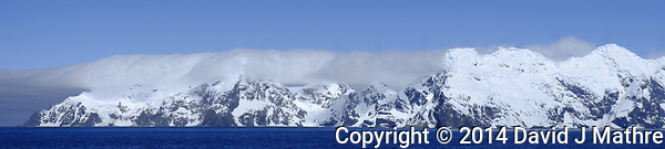 Panoramic view of Elephant Island. Image taken with a Fuji X-T1 camera and 60 mm f/2.4 lens (ISO 200, 60 mm, f/16, 1/500 sec). In camera panorama. (David J Mathre)