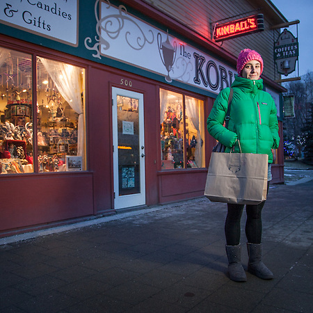 "Civil Engineer Emily Kloc shopping on Black Friday in downtown Anchorage.  ""My dream job would be backup dancer for Janet Jackson.""  klocster@gmail.com (© Clark James Mishler)"