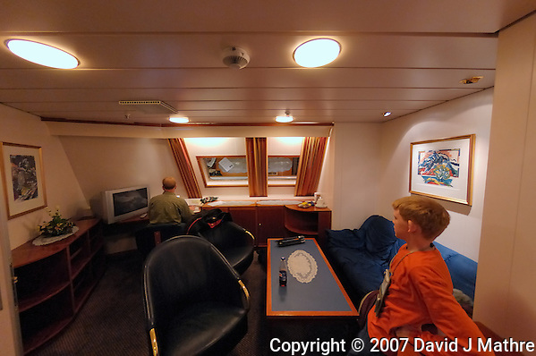 Fisheye View of Erik's Stateroom on the M/S Kong Harald. Image taken with a Nikon Dxs and 10.5 mm f/2.8 fisheye lens (ISO 400, 10.5 mm, f/2.8, 1/30 sec) (David J. Mathre)