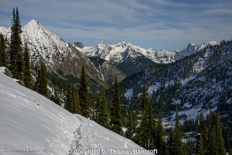 Whistler Mountain on the left and looking northeast through Sawtooth Roadless area into Liberty Bell Roadless Area. (G. Thomas Bancroft)