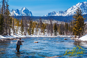 "Steelhead fishing on the Salmon River in Stanley Idaho. The Sawtooth Range makes this a stunningly beatiful place to fish. (unknown, Daryl Hunter's ""The Hole Picture"" • Daryl L. Hunter has been photographing the Yellowstone Region since 1987, when he packed up his view camera, Pentex 6X7, and his 35mm's and headed to Jackson Hole Wyoming. Besides selling photography Daryl/Daryl L. Hunter)"