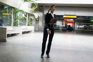 Standard issue taxi rank organising lady at Sao Paulo airport, Brazil. Photo by Andrew Tobin/Tobinators Ltd (Andrew Tobin/Tobinators)