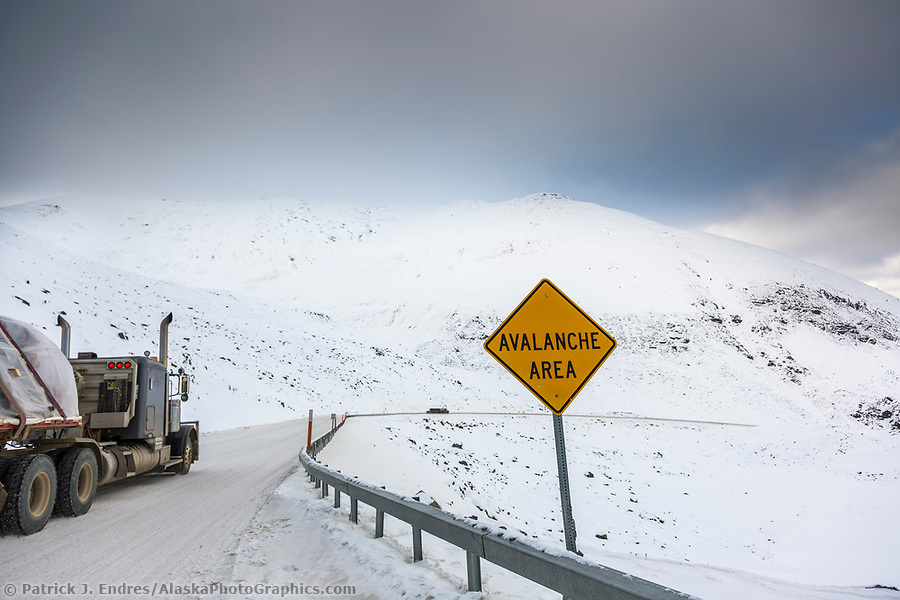 Dalton Highway photos: Avalanch sign in Atigun pass, James Dalton Highway, Arctic, Alaska. (Patrick J Endres / AlaskaPhotoGraphics.com)
