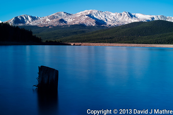 Turquoise Lake Early Morning Panorama. Near Leadville, Colorado. Composite of three image taken with a Nikon D3x camera and 85 mm f/2.8 PC-E lens and Singray neutral density filter (ISO 100, 24 mm, f/16, 30 sec). Raw images processed with Capture One Pro, and the composite generated  with AutoPano Giga Pro. (David J Mathre)