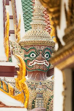 Giant guardian at the Royal Palace in Bangkok, Thailand (unknown)