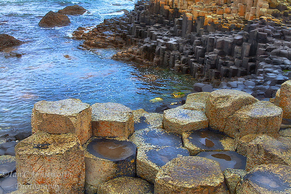 Looking at the rare basalt columns formed at the edge of the sea at the Giants Causeway in Northern Ireland. (Ian C Whitworth)