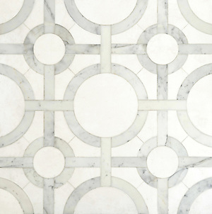 Cirque, a stone water jet mosaic, shown in honed Thassos and polished Calacatta Tia . (Picasa)