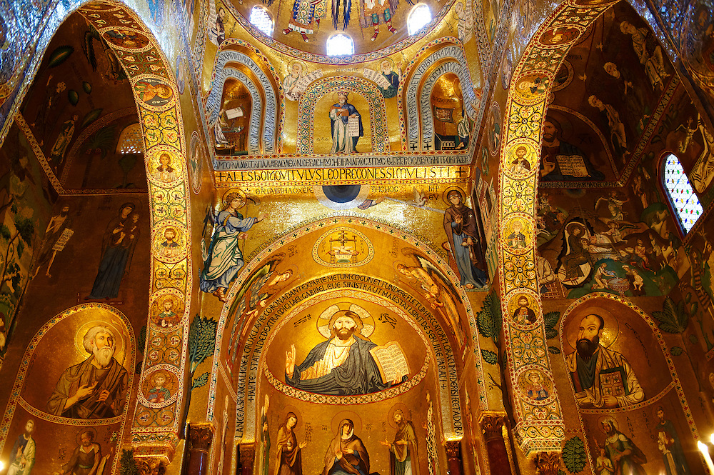 Byzantine Christian Mosaics of The Palatine Chapel  ( Capella Palatina) in The Norman Palace (Palazzo dei Normanni), Palermo, Sicily. Scenes of Christ and from the Bible. (By Travel photographer Paul Williams. http://www.funkystock.eu)