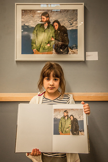 Eight year old Aaliyah Infante at Ben Huff opening at the Alaska Humanities Fourm in Anchorage. (© Clark James Mishler)