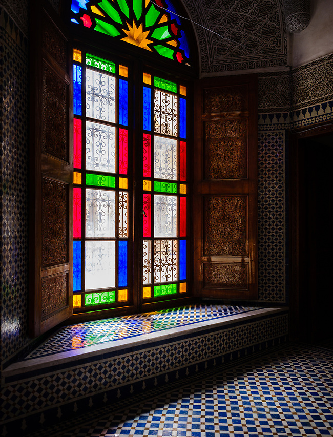 FEZ, MOROCCO - CIRCA APRIL 2017: Tinted glass window in Morocco (Daniel Korzeniewski)