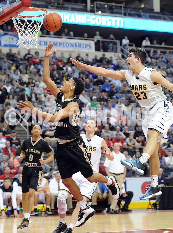 SBNEUM19P Neumann-Goretti's Quade Green makes a layup as Mars Christian Schmitt #23 defends in the first quarter of the boys basketball PIAA Class AAA state championship game Friday March 18, 2016 at the Giant Center in Hershey, Pennsylvania. (WILLIAM THOMAS CAIN/For The Inquirer) (William Thomas Cain/Cain Images)