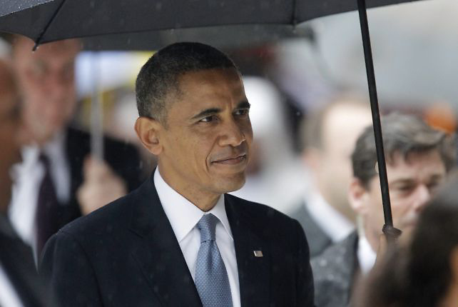 Barack Obama, presidente de Estados Unidos, en el funeral de Mandela