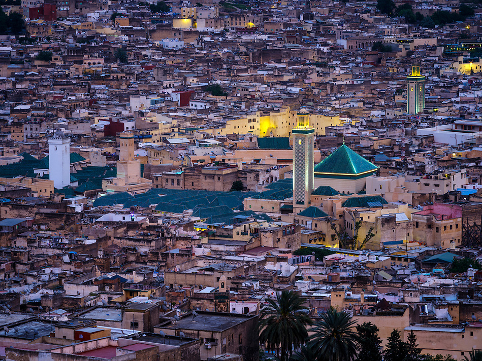 FEZ, MOROCCO - CIRCA APRIL 2017: Aerial view of the Medina in Fez during blue hour (Daniel Korzeniewski)