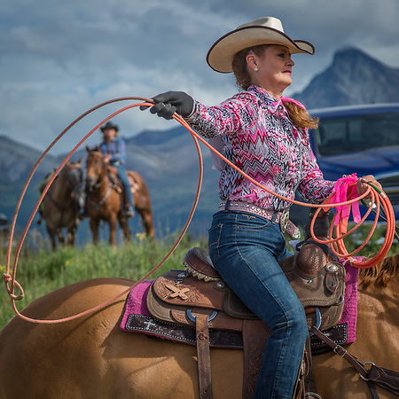Roper Debbie Erickson warms up before her rodeo event at the Alaska State Fair in Palmer, Alaska (Clark James Mishler)