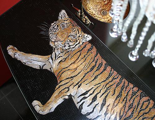Custom Tiger bar top in Nero Marquina, Giallo Reale, Renaissance Bronze, Rosa Verona,Botticino, Crema Marfil honed and pillowed (New Ravenna Mosaics)