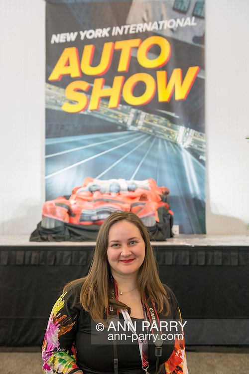 Artist TRINA MERRY, and her Trina Merry Studios, created a piece of living art, where models' bodies are painted and then positioned to resemble a red car, on view at the Media Party after the first day of the New York International Auto Show 2016, at the Jacob Javits Center. The artwork recreated the NYIAS poster. This was Press Preview Day one of NYIAS, and the Trade Show will be open to the public for ten days, March 25th through April 3rd. (Ann Parry)