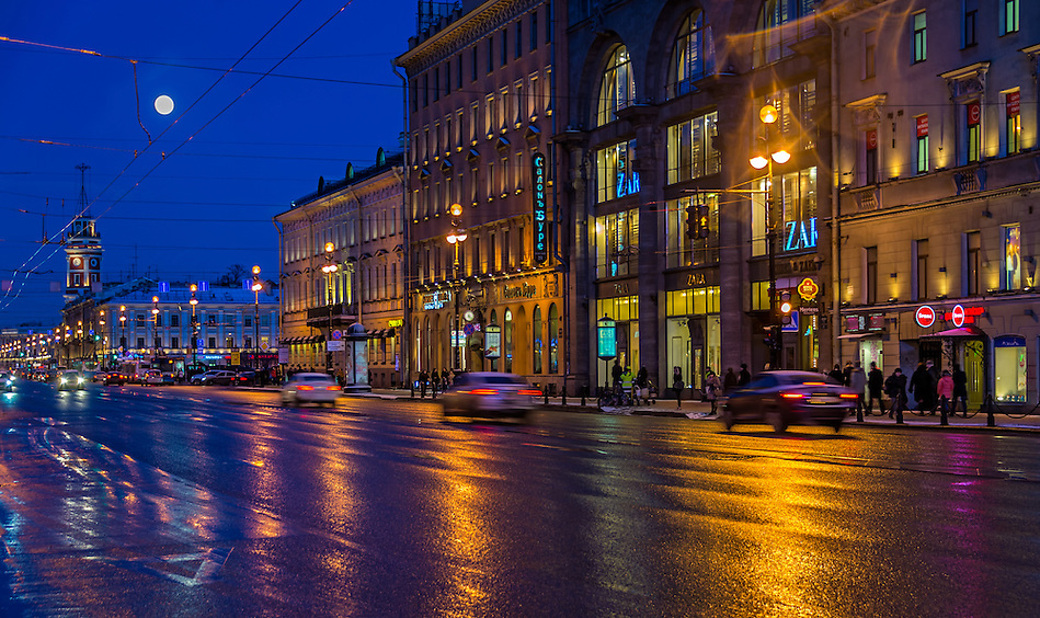 ST. PETERSBURG - CIRCA MARCH 2013: Nevsky Prospect Ave. in St. Petersburg, circa March 2013. This is a tourist attraction with 221 museums, 2000 libraries, and 80  plus theaters within the city. (Daniel Korzeniewski)