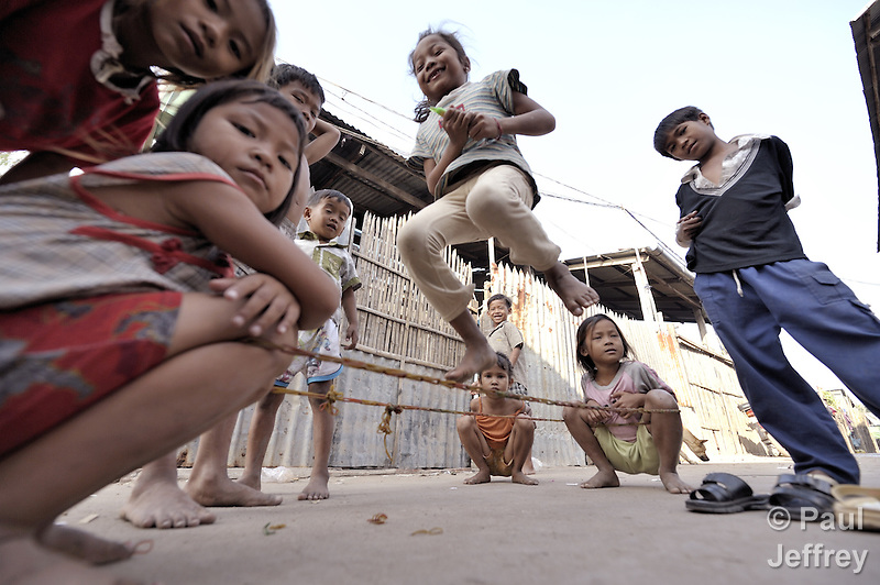 Children at play in the Chamroen neighborhood of Phnom Penh, Cambodia. (Paul Jeffrey)