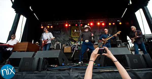 The Charlie Daniels Band performs during the Vietnam Veterans Homecoming Celebration at Charlotte Motor Speedway in Concord on March 31, 2012. (James Nix)