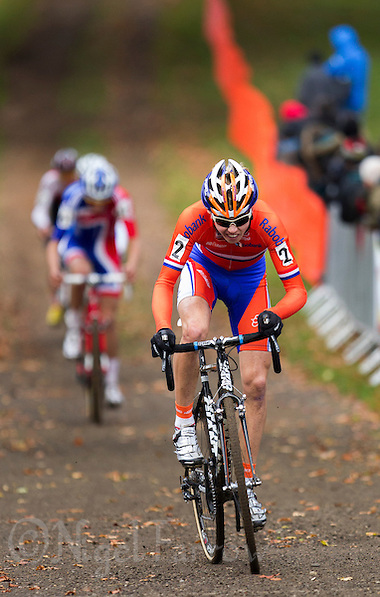 03 NOV 2012 - IPSWICH, GBR - Gert-Jan Bosman (NED) of the Netherlands climbs a hill as he makes his way round the course during the Under 23 Men's European Cyclo-Cross Championships in Chantry Park, Ipswich, Suffolk, Great Britain .(PHOTO (C) 2012 NIGEL FARROW) (NIGEL FARROW/(C) 2012 NIGEL FARROW)