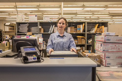 """I've been here the longest of anyone working here...um...27 years...since the day after the loma linda earthquake."" ""My kids say that where ever we go, people always know who I am."" -Calistoga post office clerk Lori Cantrell (Clark James Mishler)"