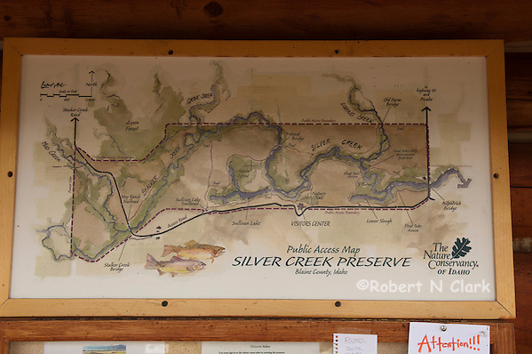 Map at the visitor center showing the various sections of Silver Creek (Bob Clark)