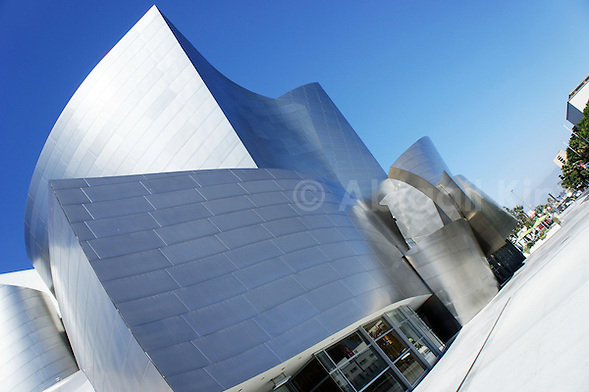 Frank Gehry Walt Disney Concert Hall - With blue skies and shot at an angle in LA, America