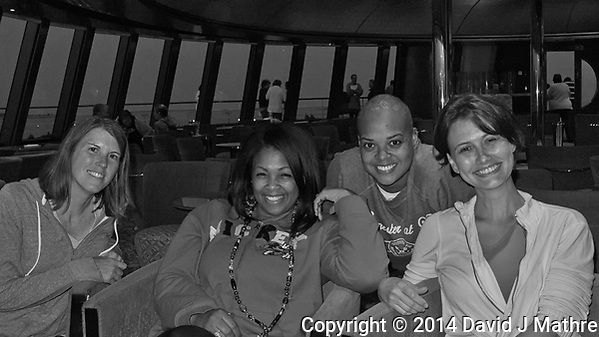 Girls Night Out - Getting Ready to Depart Helsinki, Finland on the MV Explorer. Image taken with a Leica X2 camera (ISO 1600, 24 mm, f/8. 1/60 sec). Raw image processed with Capture One Pro, Define, and Photoshop CC. (David J Mathre)