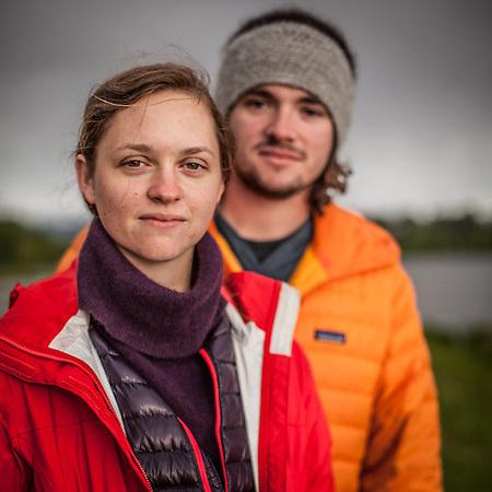 BLM botany intern Charlotte Crowder and her friend Logan Claytor at Westchester Lagoon, Anchorage  charlotte.m.crowder@gmail.com (© Clark James Mishler)