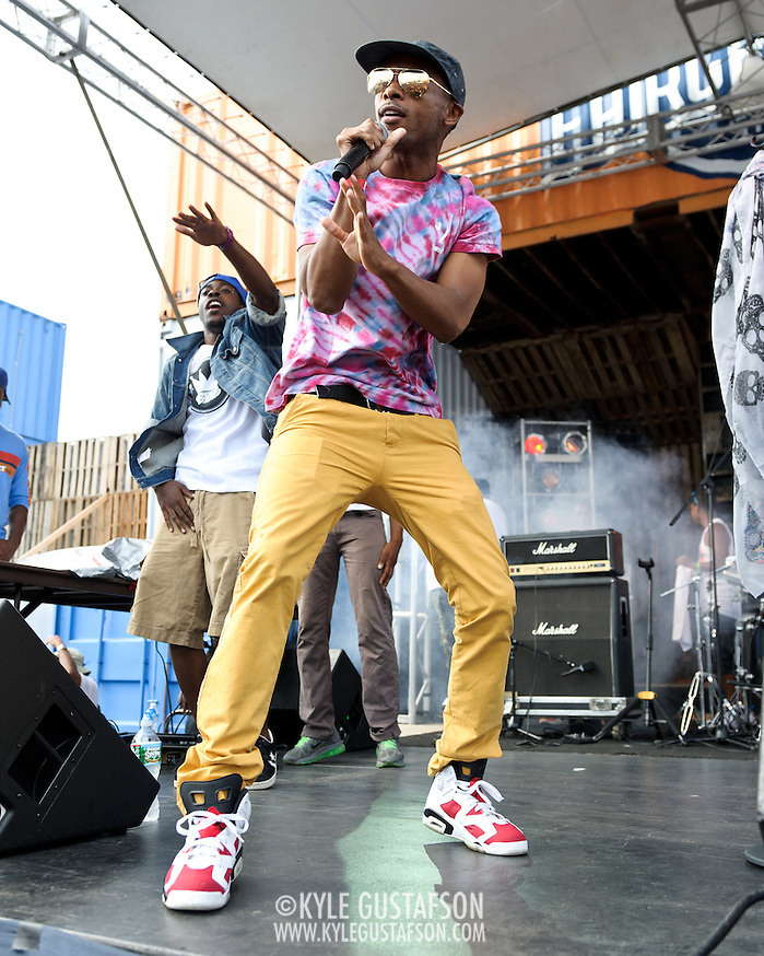WASHINGTON, DC - August 11th, 2012 - Tabi Bonney (right) performs backed by Beat Ya Feet Kingz at the inaugural Trillectro Festival at the Half Street Fairgrounds in Washington, D.C. The festival was a combination of hip-hop and dance acts, bringing together fans of both genres.  (Photo by Kyle Gustafson/For The Washington Post) (Kyle Gustafson/For The Washington Post)