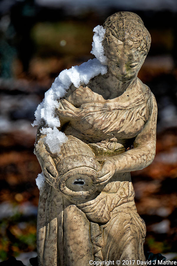 Fountain statue after a winter snowstorm. Image taken with a Fuji X-T2 camera and 100-400 mm lens (ISO 200, 290 mm, f/5.6, 1/1900 sec). (David J Mathre)