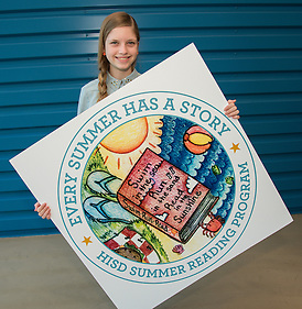 Texas Connections Academy ninth grader Maggie Martin poses for a photograph with her winning artwork to promote the Houston ISD Summer Reading Program, April 25, 2014. (Houston ISD/Dave Einsel)
