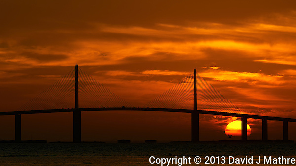 Sunshine Skyway Bridge at Sunrise from the East Beach at Fort DeSoto Park. Image taken with a Nikon D800 and 300 mm f/2.8 VR lens (ISO 100, 300 mm, f/11, 1/320 sec). (David J Mathre)